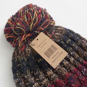 C.C Accessories - C.C Red Multicolor Fuzzy Lining Cuffed Beanie Hat